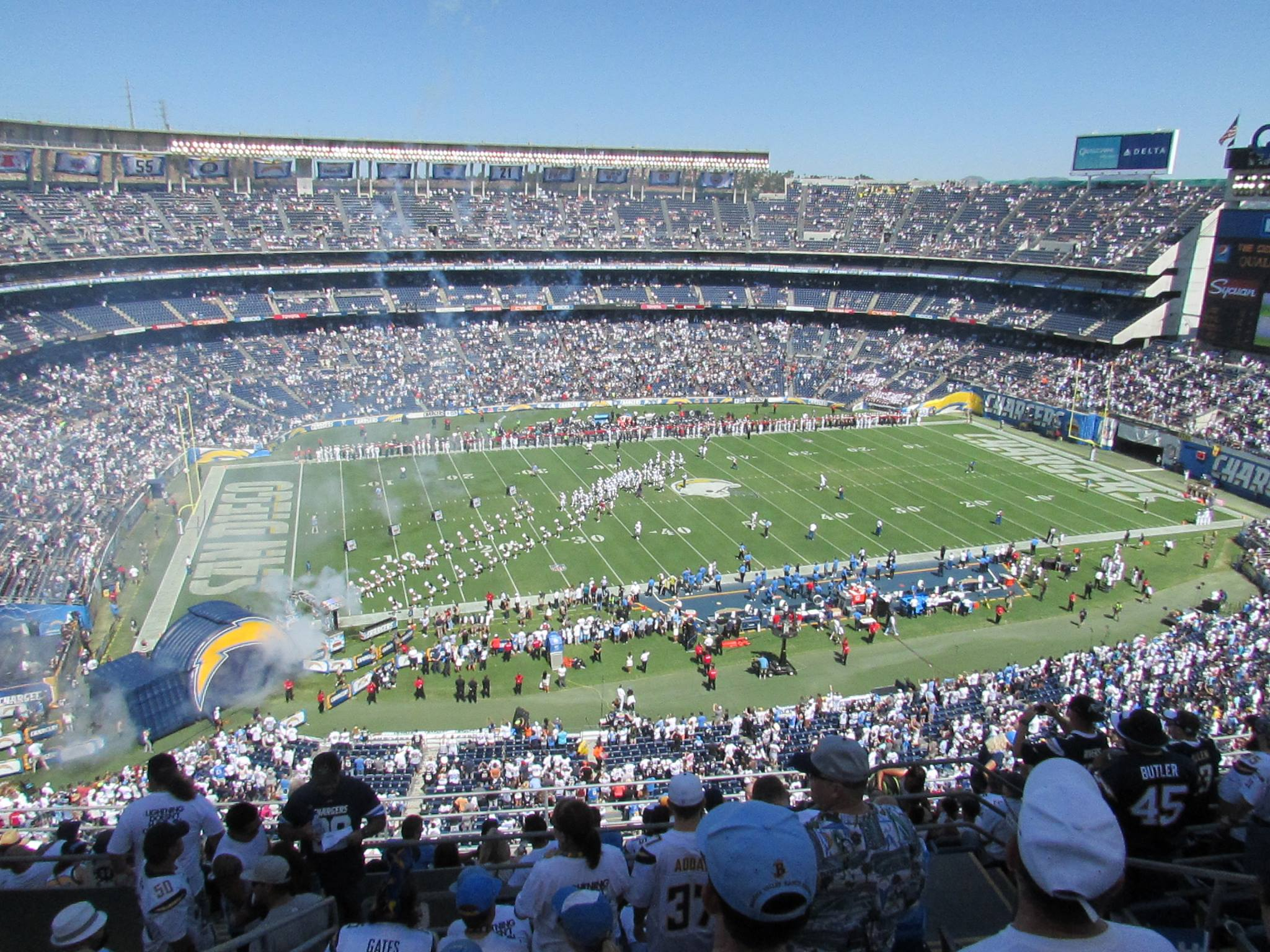 View from top-row seats at the San Diego Charger Stadium.