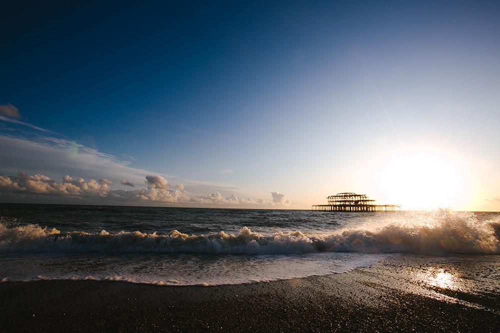 A windy day on Brighton beach